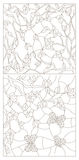Contour set of illustrations with  branches of Apple and cherry blossoms and butterflies Royalty Free Stock Photography