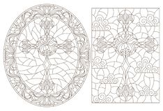 Contour set with  illustrations with Christian cross and flowers ,black contour on white background. Set contour illustrations with Christian cross and flowers stock illustration