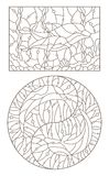 Contour set with illustrations by dolphins, round and rectangular image, dark contours on a light background. Set of contour illustrations by dolphins, round and Royalty Free Stock Photography