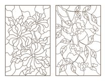 Contour set with  illustrations of flowers, the rose with the butterflies and petunias, dark outline on a white background Royalty Free Stock Photography