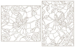 Contour Set Illustrations Of Stained Glass With Fabulous Fairies On A Background Of Flowering Plants Royalty Free Stock Photography