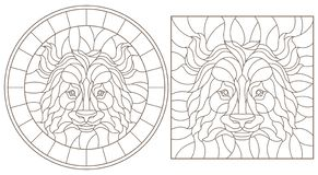 Contour set with illustrations with panda bear head, round and square image, dark outline on white background. Set of contour stained glass illustrations with stock illustration