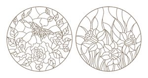 Contour set with  illustrations, roses with butterfly and daffodils, circular images, dark outlines on white background. Set of contour stained glass Royalty Free Stock Images