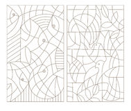 Contour set of illustrations, stained glass, abstract fish and pigeons Stock Photos