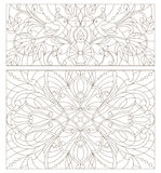 Contour set  illustrations of stained glass with abstract swirls , flowers and birds horizontal orientation Royalty Free Stock Photography