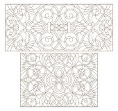 Contour set with  illustrations of stained glass with abstract swirls and flowers , horizontal orientation. Set contour illustrations of stained glass with Stock Photography