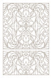 Contour set with  illustrations of stained glass with abstract swirls and flowers , horizontal orientation Stock Images