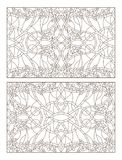 Contour set with illustrations of stained glass with abstract swirls and flowers of roses, horizontal orientation. Set contour illustrations of stained glass Stock Images