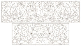 Contour set of illustrations of stained glass with abstract swirls , grapes and flowers , horizontal orientation Stock Images