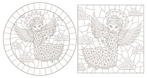 Contour set with illustrations of stained glass with angels, round and rectangular image, dark contours on a white background. Set of contour illustrations of royalty free illustration