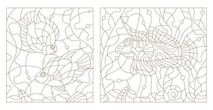 Contour set of illustrations of stained glass with aquarium fish. Set contour illustrations of stained glass with aquarium fish Royalty Free Stock Photo