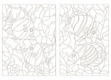 Contour set of illustrations  of stained glass with aquarium fish,butterfly fish and Moorish idols Stock Images