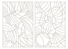 Contour set of illustrations of stained glass with birds. Set contour illustrations of stained glass with birds Royalty Free Stock Photo