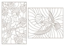 Contour set with illustrations of stained glass with birds, a parrot on the branches of plants and the crows against the sky , da. Set contour illustrations of royalty free illustration