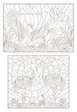 Contour set with illustrations of stained glass with birds on the pond a pair of swans and a pair of flamingos. Set contour illustrations of stained glass with royalty free illustration