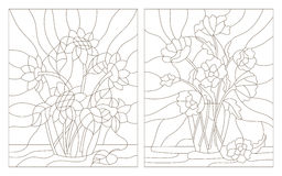 Contour set of illustrations  of the stained glass bouquet of poppies and sunflowers in a vase Royalty Free Stock Image