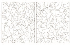 Contour set of illustrations  of stained glass, the branch of a lemon tree and a pear tree with ripe fruits Stock Photo