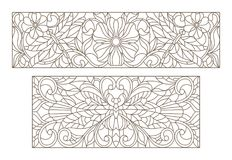Contour set with  illustrations of stained glass with a dragonfly and flowers , black contour on white background. Set contour illustrations of stained glass Royalty Free Stock Photo