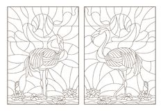 Contour set with illustrations of stained glass with flamingos and lotuses on a pond on a background sky and sun. Set contour illustrations of stained glass with Royalty Free Stock Images