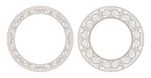 Contour set with illustrations of stained glass with floral framework,dark outline on white background. Set contour illustrations of stained glass with floral Royalty Free Stock Photo