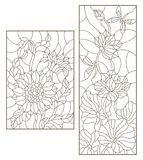 Contour set with  illustrations of stained glass with flowers, sunflowers and Lotus flowers with dragonflies , dark outline on a w. Set contour illustrations of Stock Images