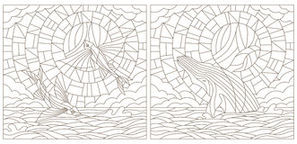 Contour set of illustrations of stained glass with flying fish and whale on the sea background ,cloud, sky and sun. Set contour illustrations of stained glass Royalty Free Stock Photography