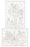 Contour set of illustrations of stained glass with fruit, still lifes Stock Photography