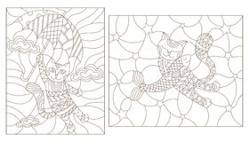 Contour set  illustrations of stained glass with funny cats. Set contour illustrations of stained glass with funny cats Royalty Free Stock Images