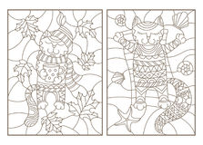Contour set with  illustrations of stained glass with funny cats, cat, Cup and scarf on the background of autumn leaves and restin. Set contour illustrations of Royalty Free Stock Photos