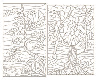 Contour set with illustrations of the stained glass of landscapes with trees Stock Photo