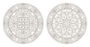 Contour set with  illustrations of stained glass, round stained glass floral, dark outline on a white background. Set contour illustrations of stained glass Stock Images