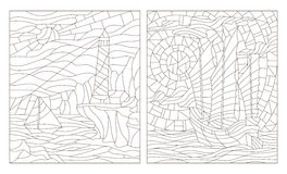 Contour set of illustrations of stained glass of seascapes, dark outline on a white background. Set contour illustrations of seascapes, dark outline on a white vector illustration