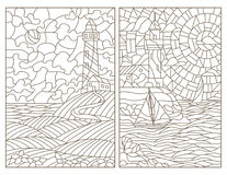 Contour set with illustrations of stained glass seascapes, lighthouses and ships. Set contour illustrations of stained glass seascapes, lighthouses and ships stock illustration