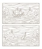 Contour set with illustrations of stained glass seascapes,sailing ship and the lighthouse in rocky Bay on the background of sea. Set contour illustrations of vector illustration