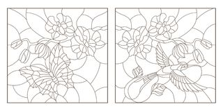 Contour set with illustrations of stained glass with a sprig of orchids, a butterfly and a Hummingbird, a dark outline on a white. Set contour illustrations of Royalty Free Stock Photos