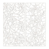 Contour set of illustrations in the stained glass style, abstract flowers , dark outline on a white background Royalty Free Stock Image
