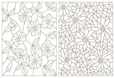 Contour set of illustrations in the stained glass style, abstract flowers , dark outline on a white background. Set contour illustrations in the stained glass Royalty Free Stock Photography