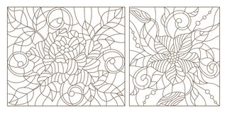 Contour set  illustrations in the stained glass style, abstract flowers , dark outline on a white background. Set contour illustrations in the stained glass Stock Images