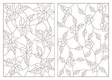 Contour set   illustrations in the stained glass style, abstract flowers of roses and lilies, dark outline on a white background Stock Images