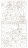 Contour set of illustrations in the stained glass style  with abstract unicorns. Set contour illustration of stained glass with abstract unicorns Royalty Free Stock Images