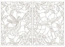 Contour set of illustrations in the stained glass style , bird and fairy on the background of flowers Royalty Free Stock Image