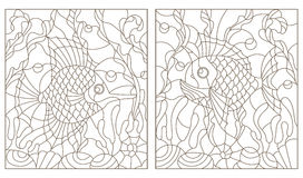 Contour set with illustrations in the stained glass style with bright abstract two exotic fish amid seaweed, coral and shells Royalty Free Stock Photos