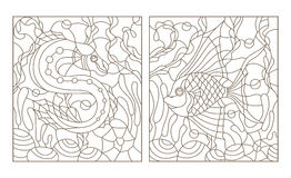 Contour set with  illustrations in the stained glass style with bright abstract two exotic fish amid seaweed, coral and shells Stock Photos