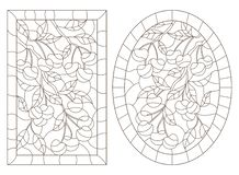 Contour set with illustrations in stained glass style with cherry tree branches, oval and rectangular image in a frame, dark conto. A set of contour stock illustration