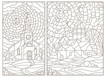 Contour set with illustrations in stained glass style with Christian churches on landscape background, dark contours on white back. Set of contour illustrations royalty free illustration