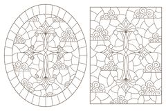 Contour set with  illustrations in stained glass style with Christian crosses on a cloudy sky background , dark contours on a whit. A set of contour royalty free illustration