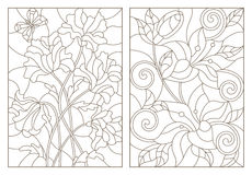 Contour set  illustrations in the stained glass style with floral pattern , bouquet by poppies and lilies , dark outline on a whit Royalty Free Stock Photo