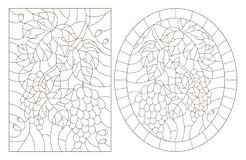Contour set with illustrations in stained glass style with grape framed, oval and rectangular images, dark contours on white ba. Set of contour illustrations in stock illustration