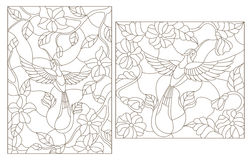 Contour set of illustrations in the stained glass style,Hummingbird on a background of flowers  dark outline on a white background. The illustrations in the Royalty Free Stock Photo