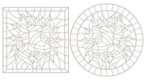 Contour set with illustrations in stained glass style for the New year and Christmas,sock with gifts and sweets, Holly branches a. Set of contour illustrations stock illustration